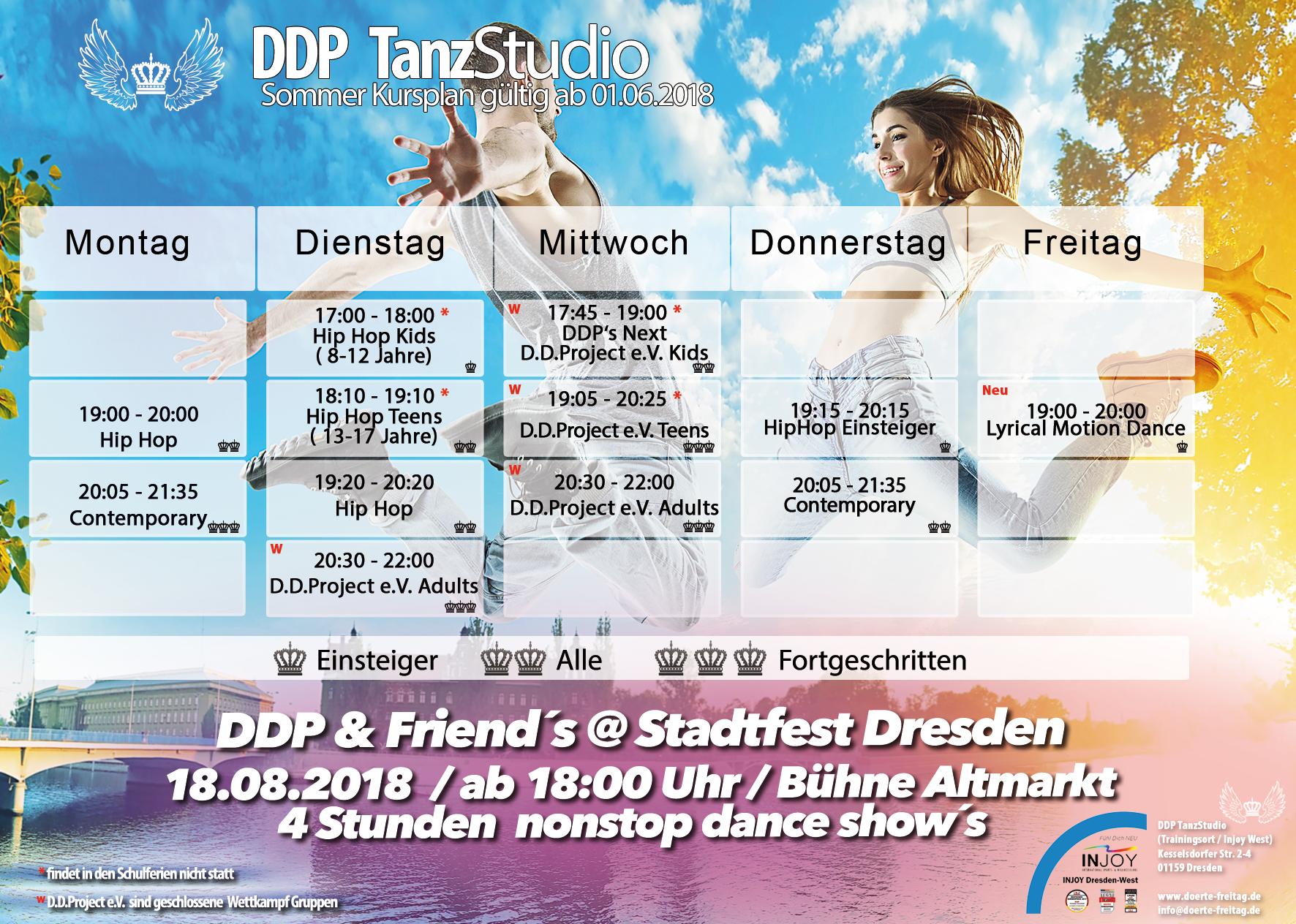 DDP Tanzstudio Kursplan sommer 2018